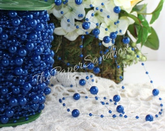 Sapphire/Royal Blue Pearl Garland, by the yard, Blue Beads, Blue String Beads, Blue Acrylic Beads, Wedding, Nautical, Party Supplies