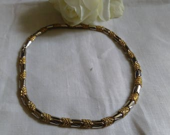 Vintage Gold Tone & Silver Tone Articulated Choker Necklace.