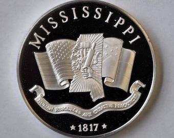 """Franklin Mint Sterling Proof State 1 1/2"""" Bicentennial Medal Mississippi 1oz."""