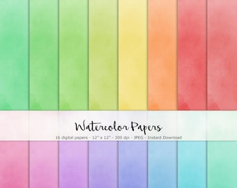 Watercolor Paper Set of 16 - Printable and Digital