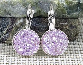 Mauve Druzy Earrings - Leverback Earrings  - Druzy - Drusy - Jewelry - Druzy Earrings - Druzy Jewelry - Drop Earrings - Druzy Jewelry - Gift