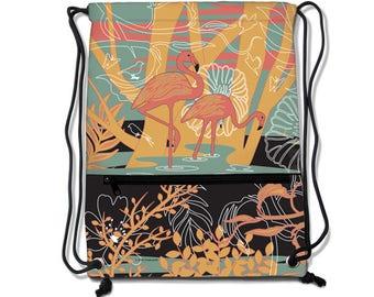 Flamingo Drawstring Backpacks