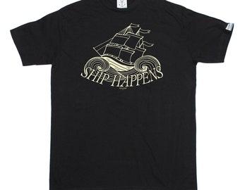 Ocean Bound Men's Ship Happens Sailing T-Shirt Funny Novelty Birthday Gift Present Christmas Sailing Sail Boat Captain  Sailboat Yacht Kayak