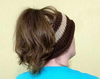 Messy Bun Hat Crochet Knitted Brown Tan Poneytail Hat