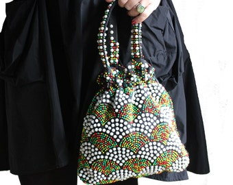 Candy Gumdrop Beaded Red Yellow Green White Black Purse