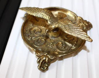 Brass bird holder, Brass bird