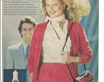 1980 Advertisement Christie Brinkley Woolite Trust 80s Celebrity Laundry Room Clothing Care  Wall Art Decor