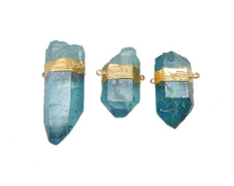 Aqua Aura Freeform Nugget Double Bail Pendant with Electroplated 24k Gold Band (S86B18-03)