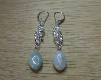 Sterling Silver Jade Earrings.  Silver Chainmaille Earrings. Chainmale