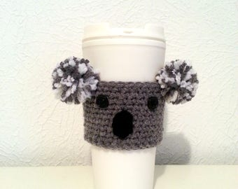 Koala Cup Sleeve, Crochet Cup Cozy, Reusable Eco-Friendly Drink Holder, Made to Order Coffee Cozy