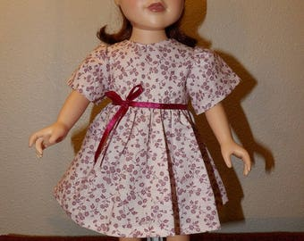 Cute pink & maroon floral print modest dress for 18 inch dolls - ag334
