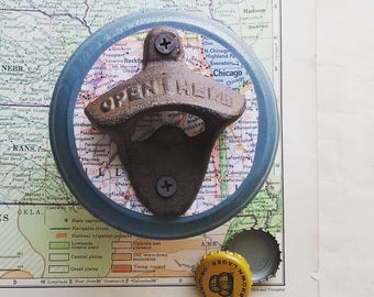 Chicago Map Beer Bottle Opener, Wall Mount Bottle opener Made From a Vintage Map of Illinois, Rustic Bar Accessories, Uique Gift Idea