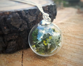 Terrarium Necklace, Woodland Necklace, Glass Orb Jewellery, Forest Necklace, Bohemian Jewellery, Nature Lover Gift, Gift For Her