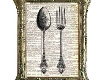 FORK and SPOON art print Victorian Kitchen Dining Restaurant on upcycled vintage dictionary book page black white wall decor 8x10, 5x7