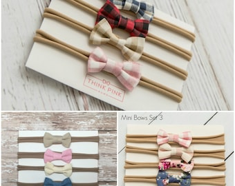 Baby headband SET, Baby Headbands, Baby girl headbands, Small Bows, Baby Bows, Newborn headbands, Nylon Headbands,Baby hair bows,