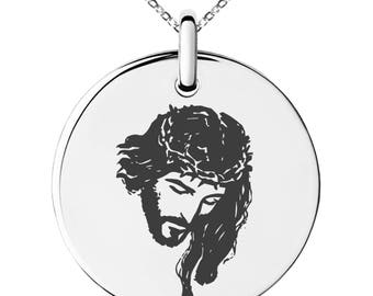 Stainless Steel Jesus Crucified Engraved Small Medallion Circle Charm Pendant Necklace / Silver / Black / Rose / Gold