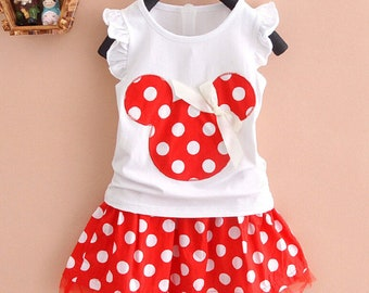 Minnie Mouse Polka Dot Inspired Outfit - Shirt Top and Skirt