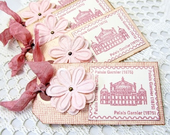 Parisian Gift Tags - Pink Gift Tags - Paris Gift Tags - French Vintage - Set of Four Gift Tags - Set of French Gift Tags - Vintage Rose