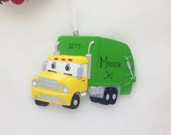 Garbage Truck Personalized Christmas Ornament / Toddler Christmas Ornament / Little Boy Ornament