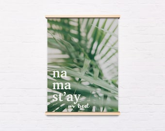 Botanical art poster, Tropical poster, Tropical Scandi, Happy Quote, Plant wall art, Instant Download, Printable Wall Decor, Digital Print