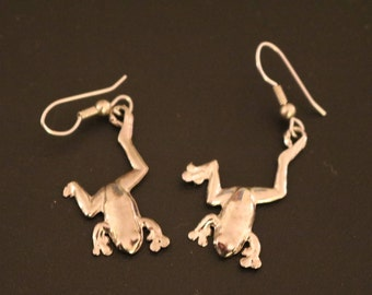 Vintage New Silver Frog Earrings