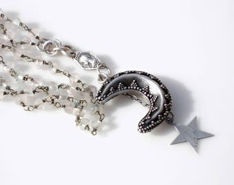 Sterling Silver Crescent Moon & Star Necklace - Rock Crystal