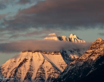 Mountaintop Majesty, Mt. Cannon Montana, Alpine Sunset, Magical Light, Montana Rocky Mountains, Photograph or Greeting card