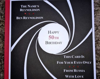 Handmade Personalised James Bond 007 Birthday Card Any Age