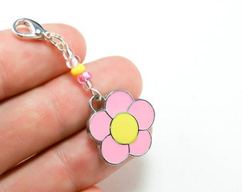 Girls Party Favors. Sale Clearance - Pink Flower Charm for Party Favors. Flower Keychain Charm. BSC055