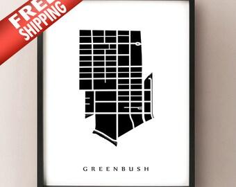 Greenbush Map - Madison, WI Neighbourhood Art Print