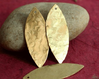 Hand hammered solid brass marquise dangle drop earring charm size 33x13mm, 2 pcs (item ID XW00934)