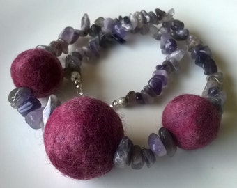 necklace - amethyst + wet felted balls