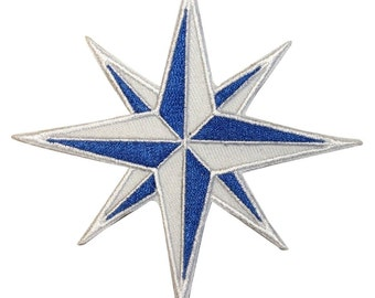 Blue and White Eight 8-Point Compass Rose Nautical Star Iron On Applique Patch