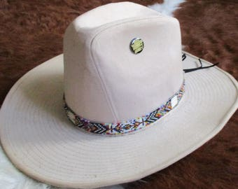 Custom made! Rainbow Hatband With Porcupine Quills & Glass Beads.  Handcrafted for Western Style Hats