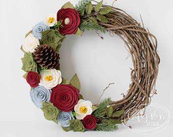 CHRISTMAS Holiday Felt Flower Wreath || Grapevine Wreath || Front Door Wreath || Mantel Wreath ||  Nursery Decor || Colorful Floral Decor