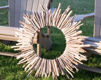"Driftwood Wreath / 26"" Coastal Wreath / Authentic Lake Huron Drift Wood / Handmade Coastal Decor / Made in Canada / Rustic Cottage"