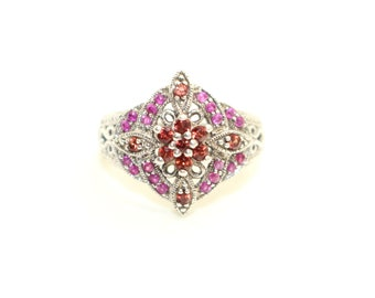 Sterling Silver AMETHYST and RUBY Flower Power Boho Hippy Cluster Ring sz.O US 7 Purple Red Vintage Fine Jewelry