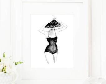 Celina • Fashion Illustration | Glicée Art Print | Wall Art | Fashion Art