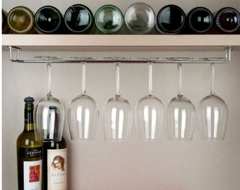 "Steel Wine Glass Holder - 24"" Wine Glass Rack - Stemware Holder -Under Cabinet - Under Shelf"