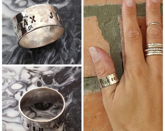 Sterling Silver 10mm wide hammered name Ring - Made to Order