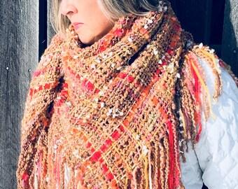 Triangular shawl hand woven, alpaca hand spun yarn, hand dyed, farm to fashion art yarn natural scarf wrap stole boho