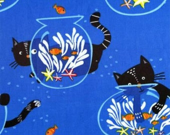 Kitty in the Fishbowl on Blue Cotton Woven