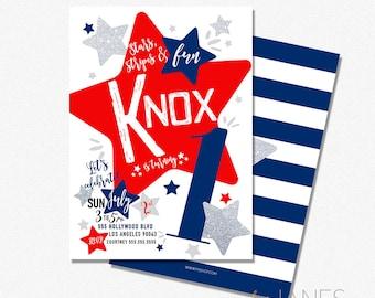 "Red, White & Blue Birthday Invitation | 4th of July Birthday Invitation | 4th of July Digital Invite - 5X7 with *bonus reverse side"""