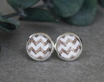 White Chevron Earrings, White Stud Earrings, Wood Earrings, White Earrings, White Post Earrings, Chevron Stud Earrings, 10MM Earrings