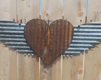 FREE SHIPPING Up-cycled old Corrugated Metal Wings with Heart