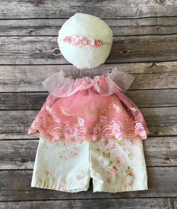 Sitter Prop Set - Lace Baby Girl Top and Bottom Set - Size 6 mo - 9 mo - Spring Lace Baby Top and Bloomers - Violet Lace Baby Outfit