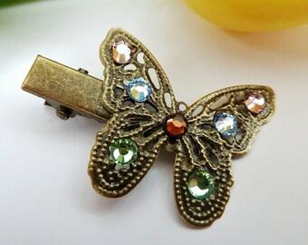 Vintage hair clip with butterfly, vintage hair accessoires, glitter hair clip, girl hair clip