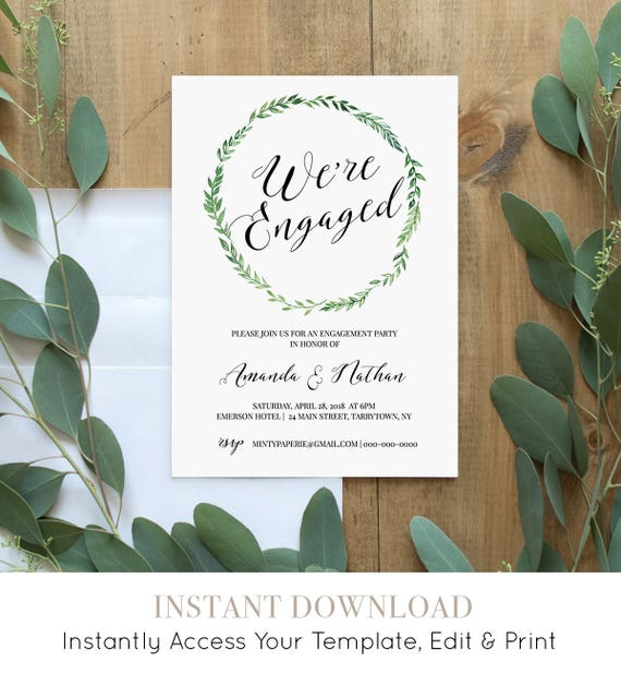 Engagement Party Invitation, Printable Engagement Announcement, We're Engaged, Editable Template, Green Wreath, Instant Download #026-109EP