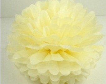 Pale Yellow Tissue Paper Pom, Pale Yellow Pom, Yellow Tissue Paper Pom Pom, Light Yellow Pom, Tissue Flower, Wedding and Birthday Decor