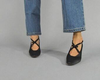 Vintage 90s Shoes / Satin Bow Shoes / Criss-Cross Strap Shoe / Satin Pump Δ size: 6.5